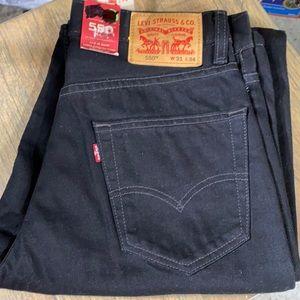 31 34 x/ Levi's 550 Black Denim Jeans Men's